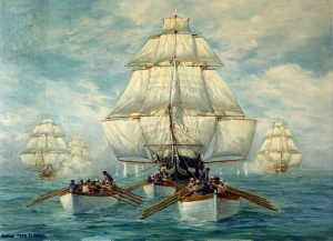 Old Ironsides being towed by rowing boats. Public Domain painting from fighting sail age by By Anton Otto Fischer (1882–1962) - U.S. Naval Historical Center. Record number NH 85542-KN., Public Domain, https://commons.wikimedia.org/w/index.php?curid=8124595